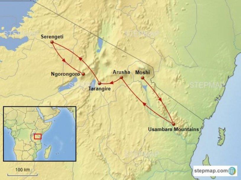 Routekaart vogelreis Tanzania - birdingbreaks.jpg