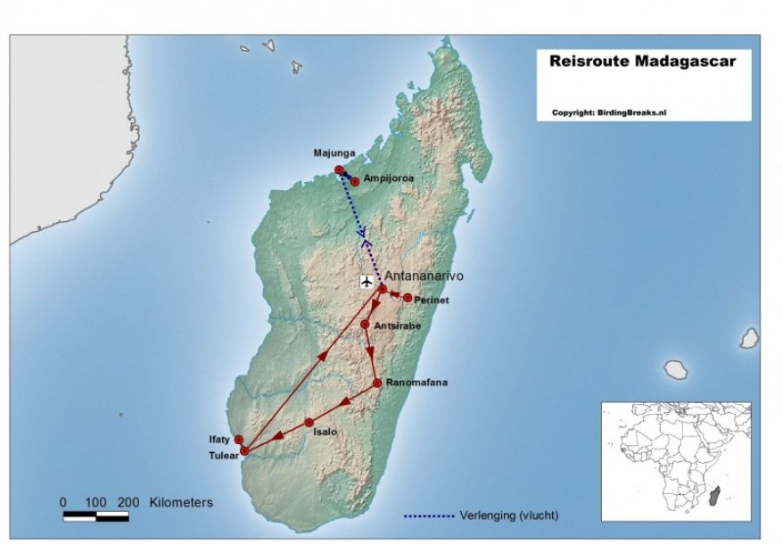 Routekaart vogelreis Madagaskar - birdingbreaks