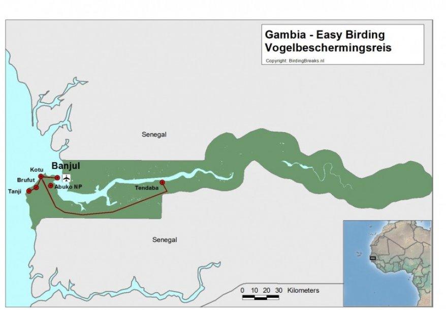 Kaart Gambia vogelreis
