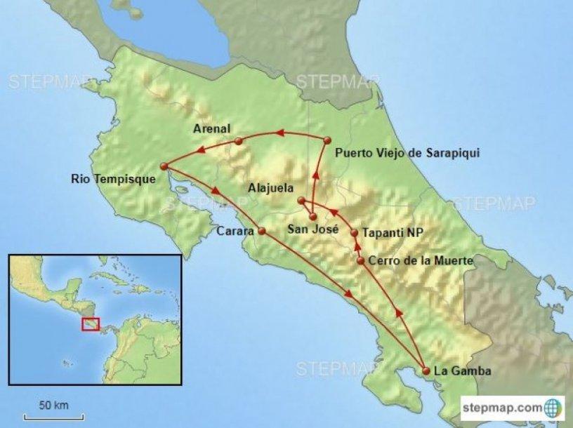 Routekaart vogelreis Costa Rica