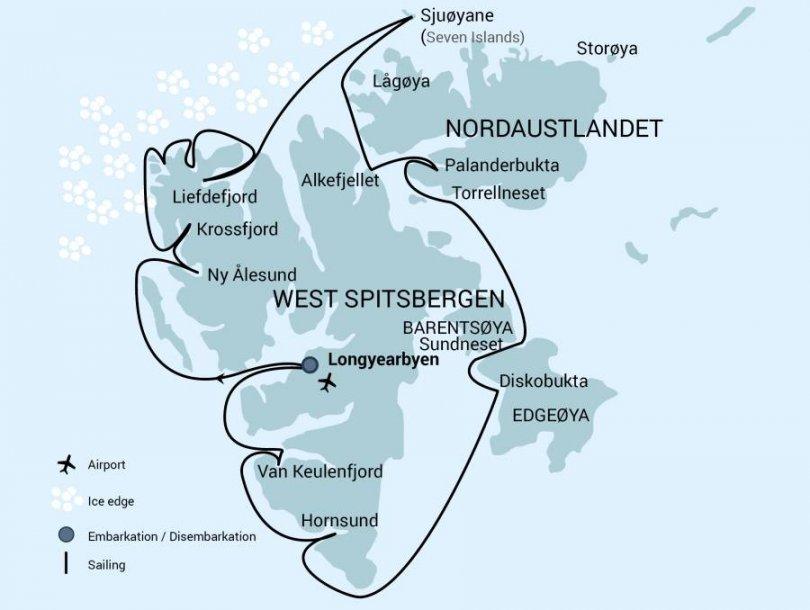 Routekaart Spitsbergen rondom