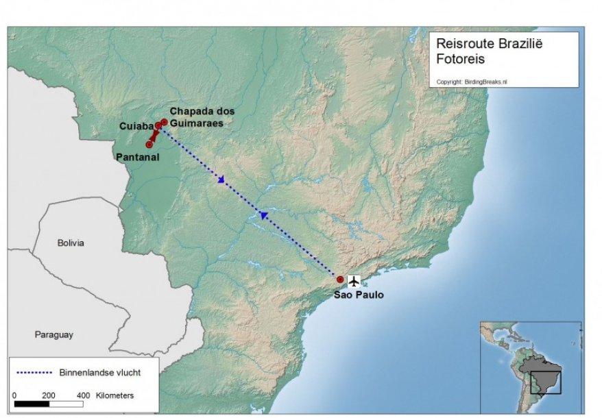 Routekaart Brazilië fotoreis