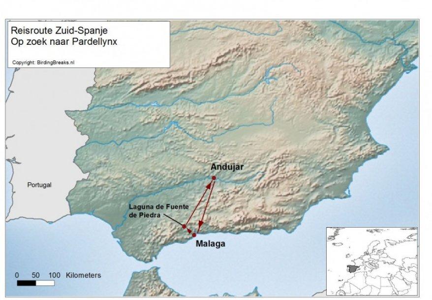 Routekaart Pardellynx in Zuid-Spanje