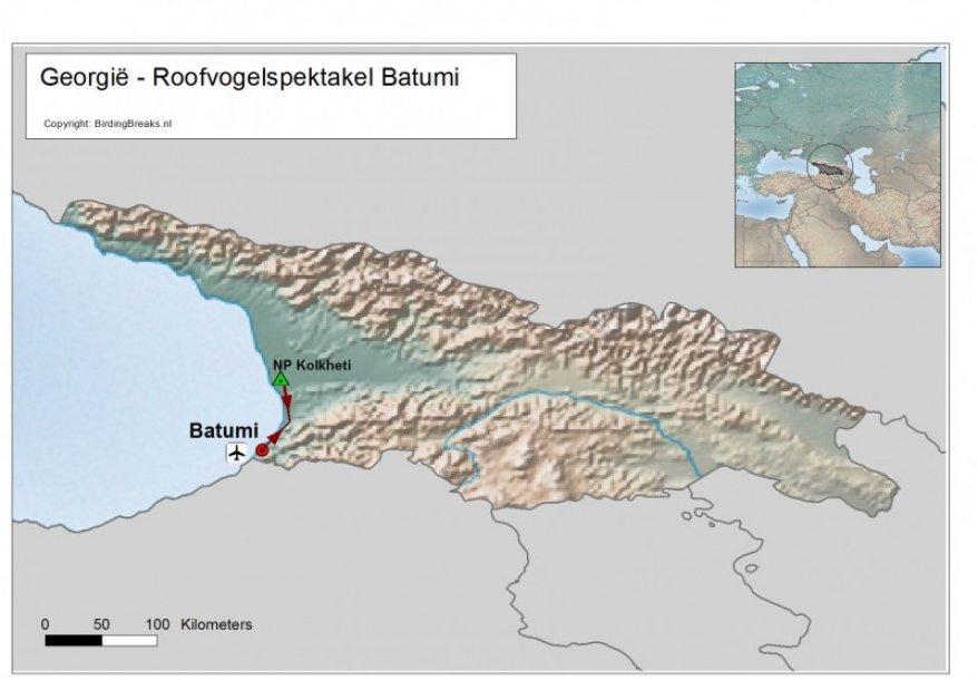 Routekaart Georgië - Batumi - EasyBirding