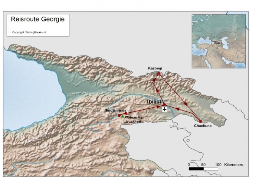 Routekaart Georgie - Kaukasus - BirdingBreaks