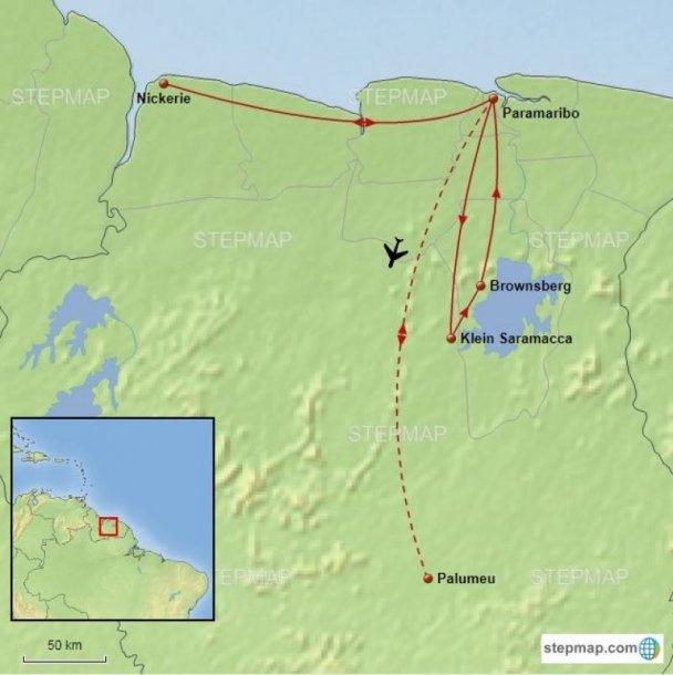 Routekaart Suriname vogelreis - Birdingbreaks