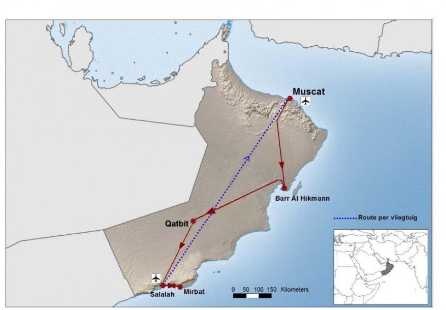 Routekaart Oman vogelreis - Birdingbreaks