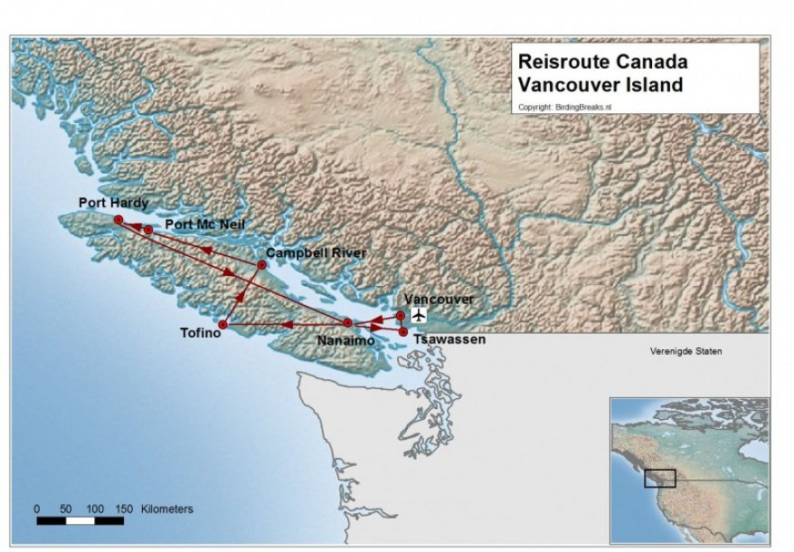 Routekaart Fotoreis Canada - Birdingbreaks