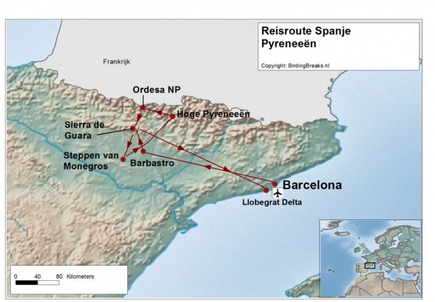 Routekaart Pyreneeën in Zuid-Spanje