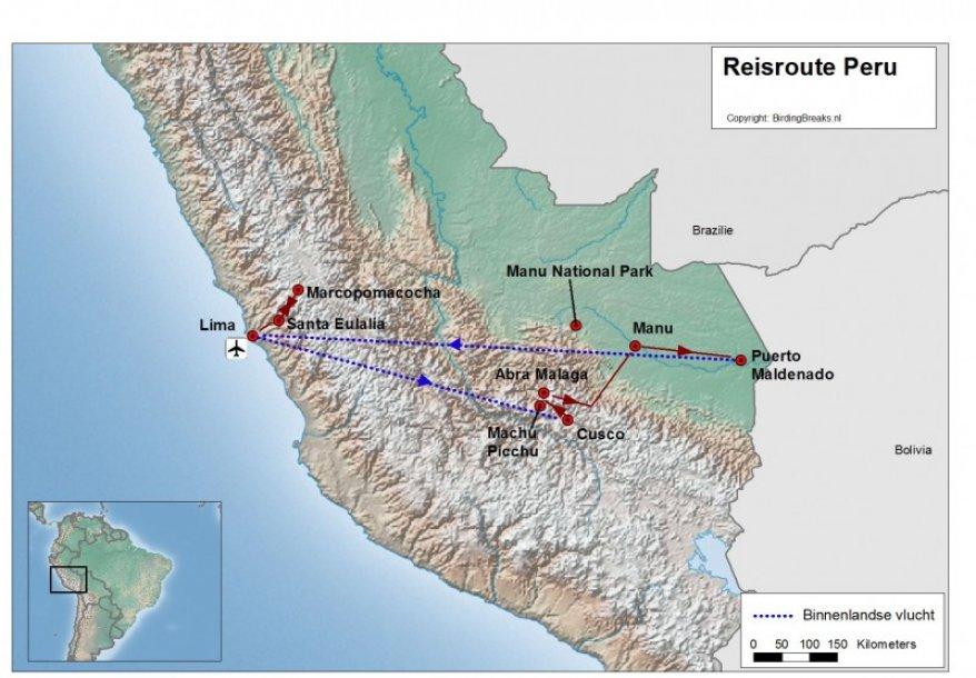 Peru Midden en Zuid routekaart