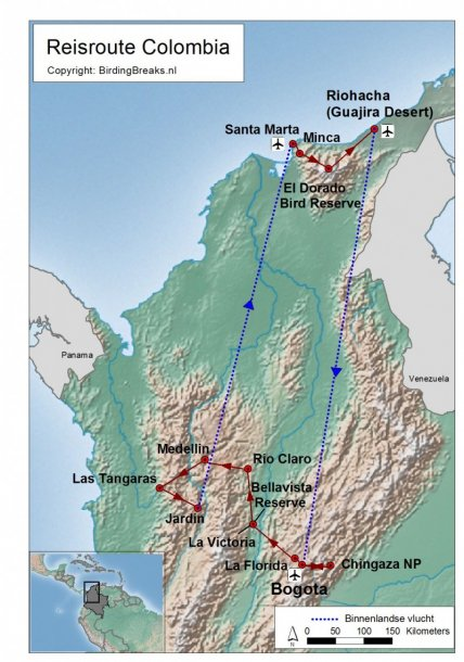 Colombia groepsreis routekaart