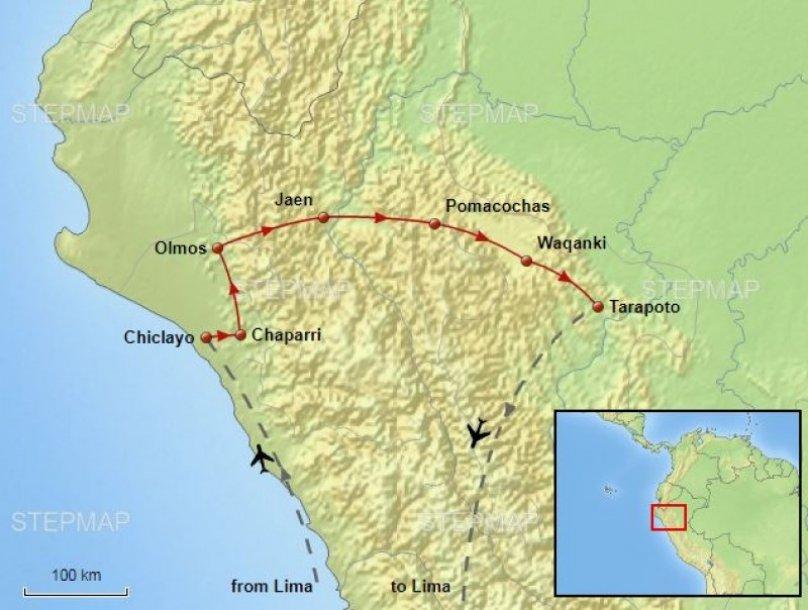 Noord-Peru routekaart