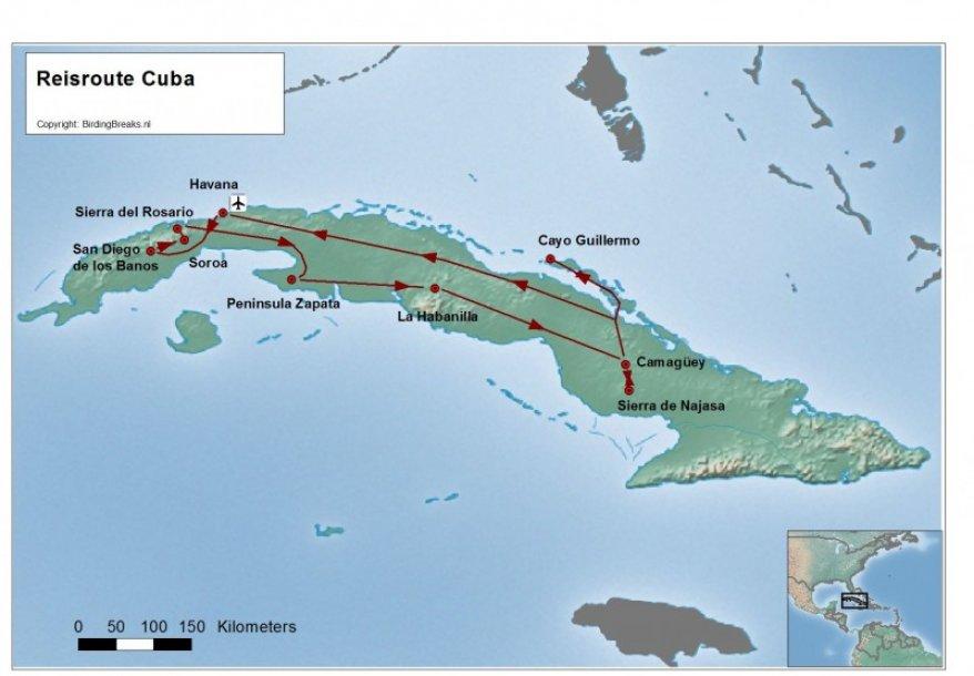 Cuba Groepsreis route