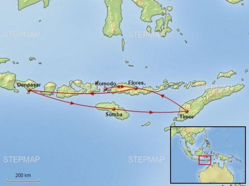 Indonesië Komodo en Soenda routekaart
