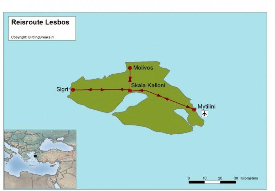 Griekenland Lesbos Fotoreis route