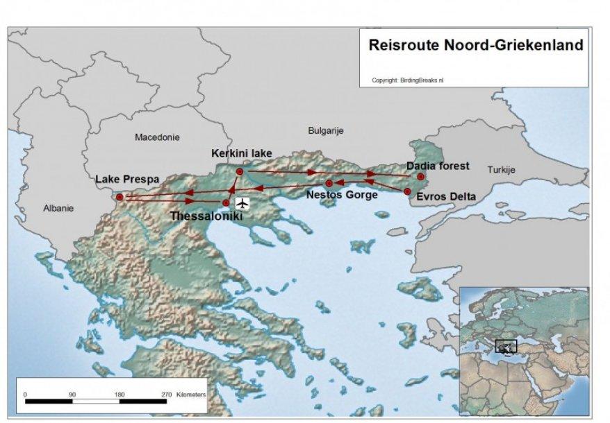 vogelreis Noord-Griekenland route
