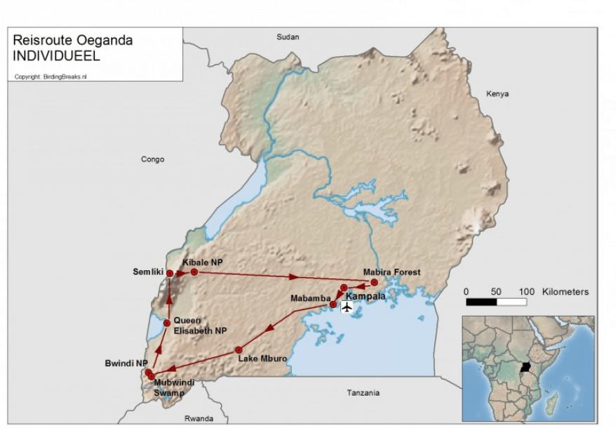 Routekaart Oeganda - BirdingBreaks