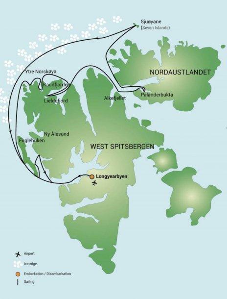 Routekaart Spitsbergen - ijsberenspecial
