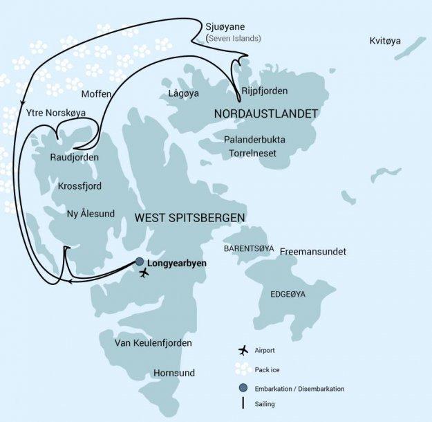 Spitsbergen Noord 82 graden route