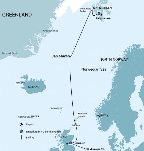 Vlissingen - Spitsbergen route