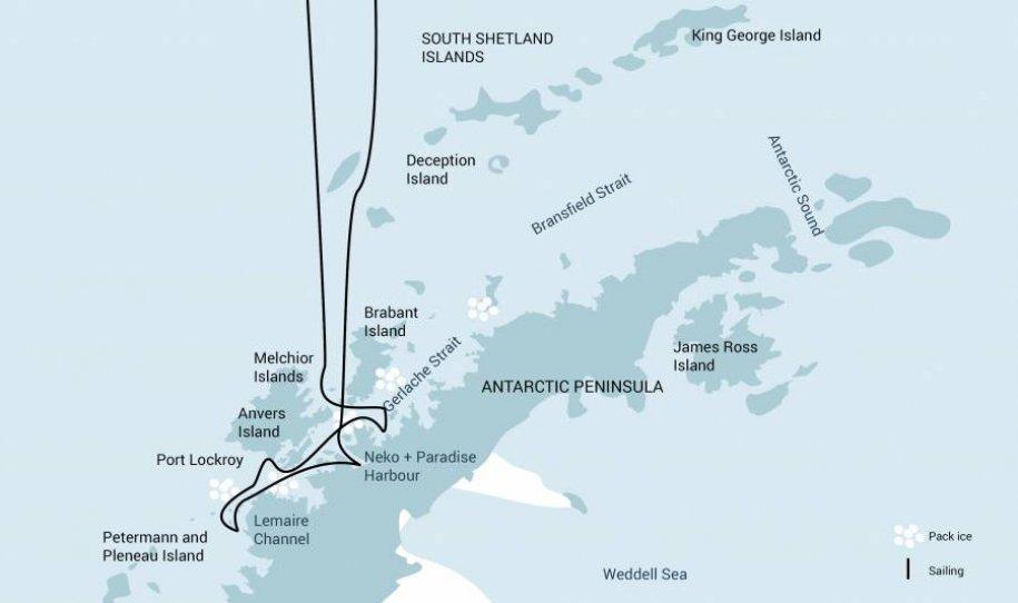 Antartica expeditie route