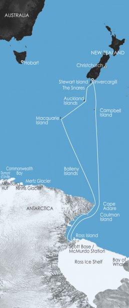 De route van Scott en Shackleton