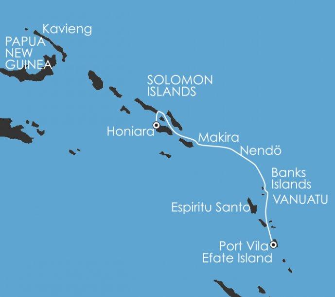 Solomoneilanden en Vanuatu route