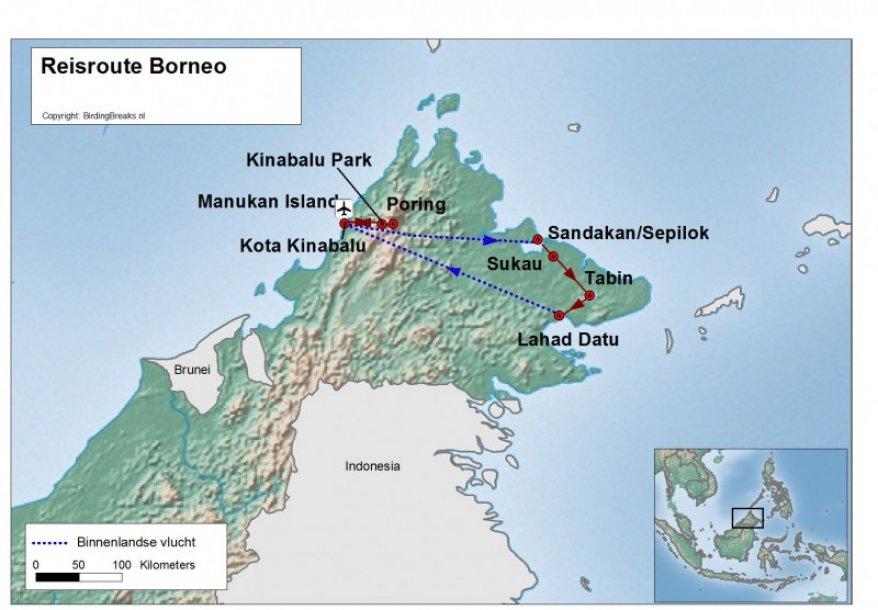 Routekaart Vogelreis Maleisisch Borneo