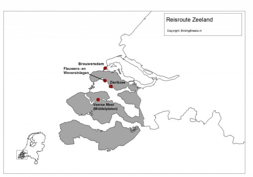 Routekaart vogelweekend Zeeland