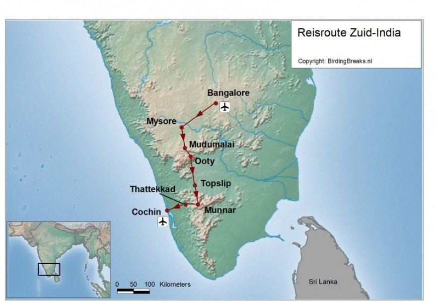 Zuid-India route