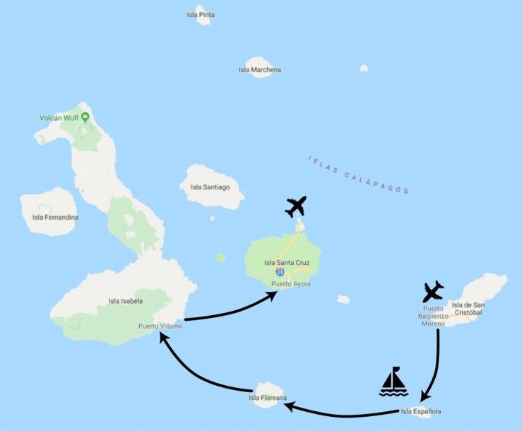 Route Ecuador Galapagos